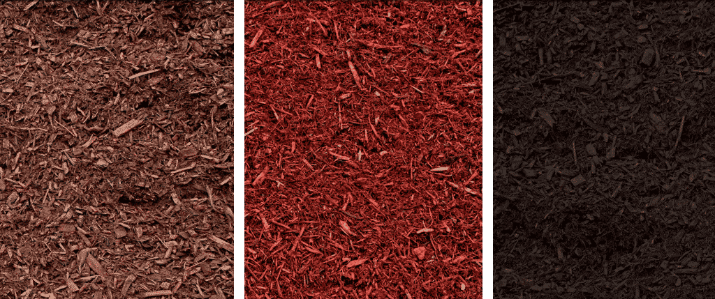 Mulch comes in medium brown, redish brown, and dark brown.